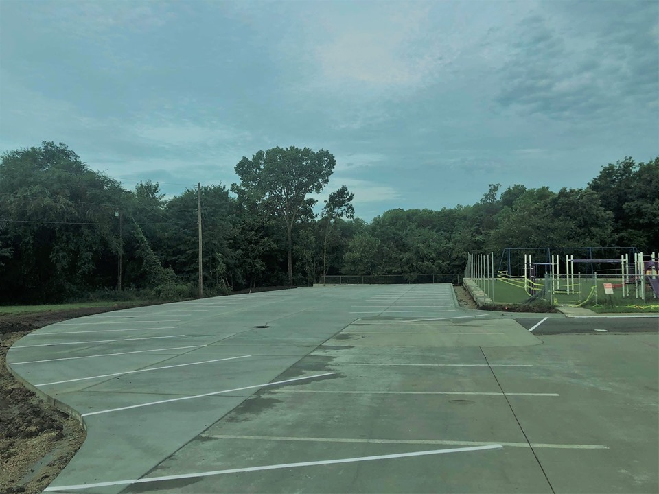Expanded parking lot for Amanda Arnold Elementary School