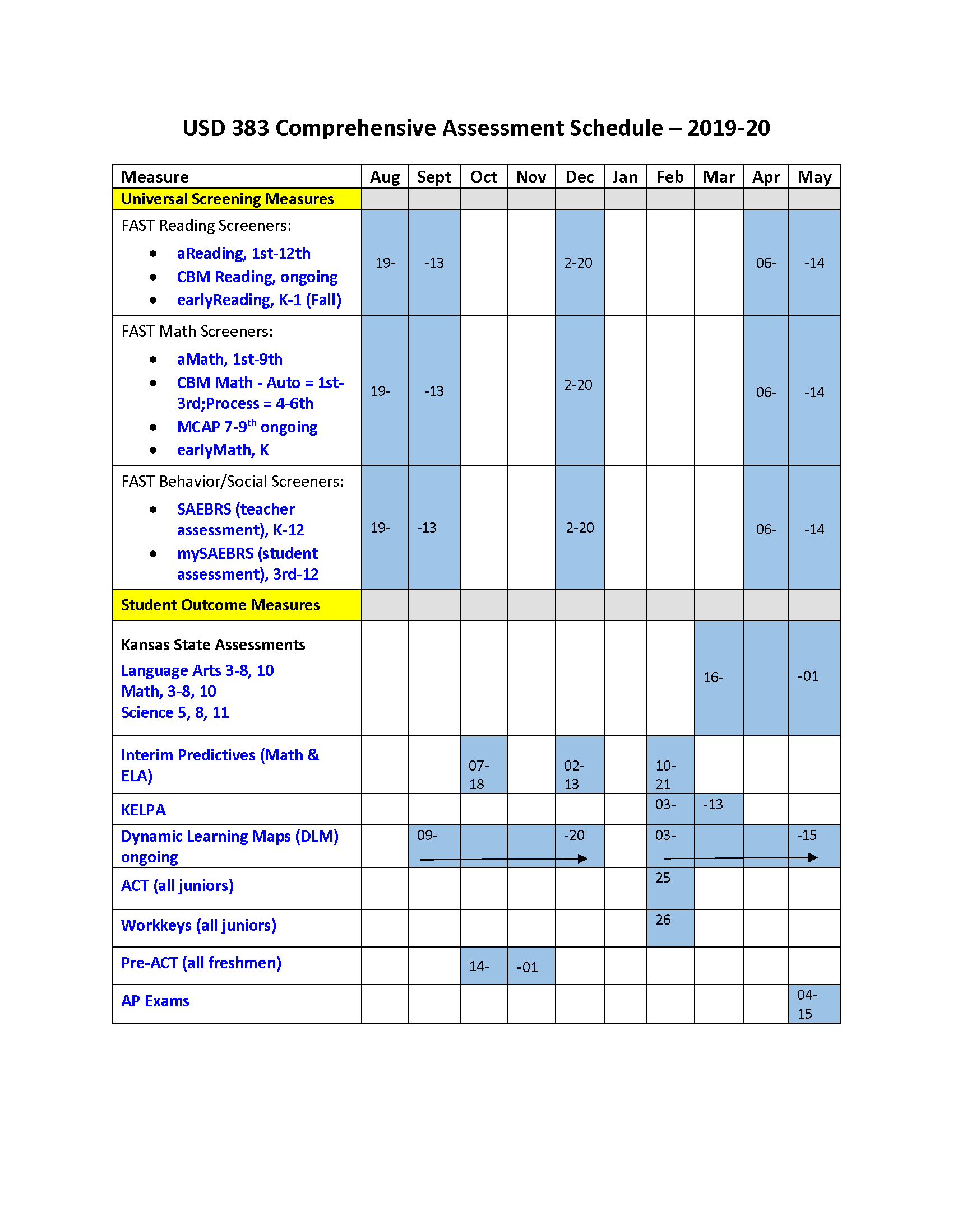 USD 383 Comprehensive Assessment Schedule 2019-20